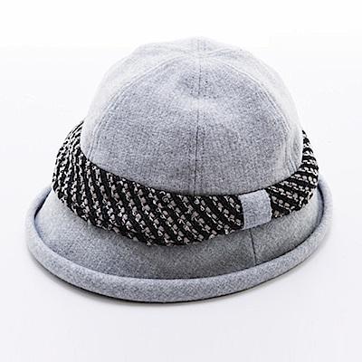ELLE法式浪漫優雅毛呢帽_灰/黑