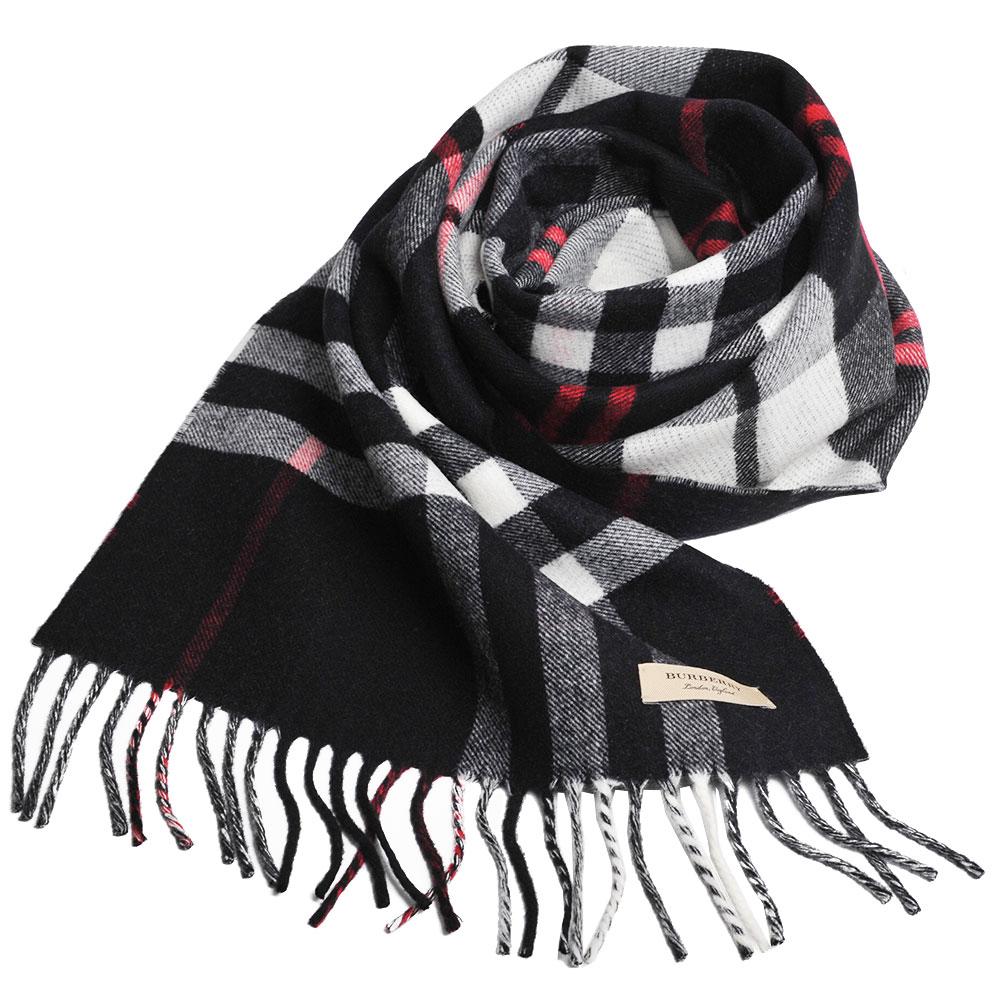 BURBERRY 經典格紋配蘇格蘭格紋美麗諾羊毛圍巾(黑格紋/168x30)