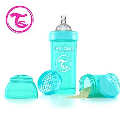 Twistshake瑞典時尚 彩虹奶瓶/防脹氣奶瓶260ml/奶嘴口徑0.5mm-土耳其藍