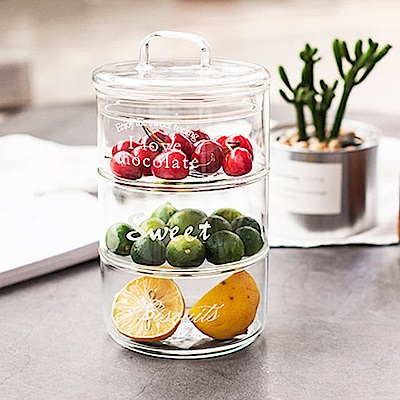 Homely Zakka 清新晨光英文字可堆疊玻璃碗玻璃儲物罐(含蓋_款式隨機)1入組