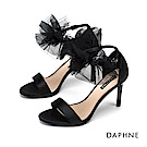 達芙妮DAPHNE 涼鞋-輕奢鍛面蕾絲花朵踝帶高跟涼鞋-黑色