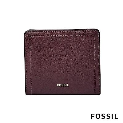 FOSSIL LOGAN 真皮系列拉鍊零錢袋設計短夾-暗紅色