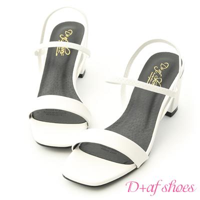 D+AF 時尚焦點.一字彈力帶方頭高跟涼鞋*白