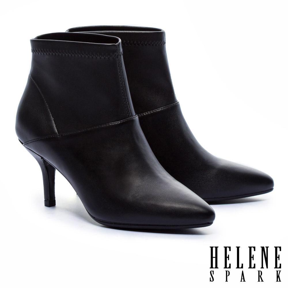 短靴 HELENE SPARK 都市時尚極簡彈力皮革尖頭高跟短靴-黑