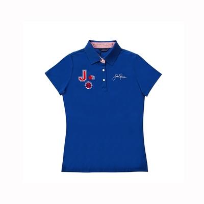 【Jack Nicklaus 】金熊GOLF女款素面吸濕排汗POLO衫-藍色