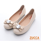 ZUCCA-緞面朵結圓頭平底鞋-白-z6333we