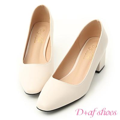 D+AF 知性色調.素面小方頭中跟鞋*米白