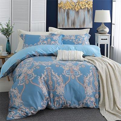 LASOL睡眠屋-300織/100%奧地利天絲 雙人兩用被床包四件組 恬靜莊園