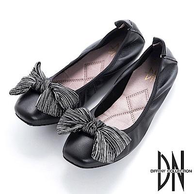 DN 舒適樂活 真皮造型蝴蝶結娃娃鞋-黑
