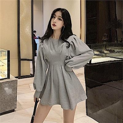 DABI 韓國風收腰顯瘦時尚圓領皺褶燈籠袖長袖洋裝
