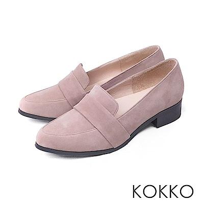 KOKKO  - 英倫復古真皮舒壓樂福跟鞋 - 紳士灰