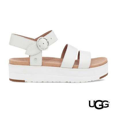 UGG女士 Leedah 白色百搭寬帶厚底涼鞋