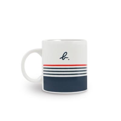 agnès b. 紅藍條紋陶瓷馬克杯 (白)
