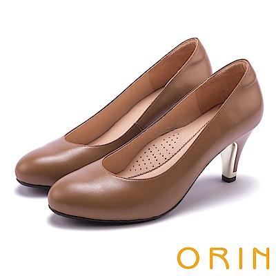 ORIN 典雅時尚女人 柔軟羊皮百搭素面高跟鞋-棕色