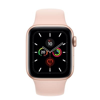 [無卡分期-12期]Apple Watch S5(GPS+網路) 40mm金色鋁錶殼粉色運動錶帶