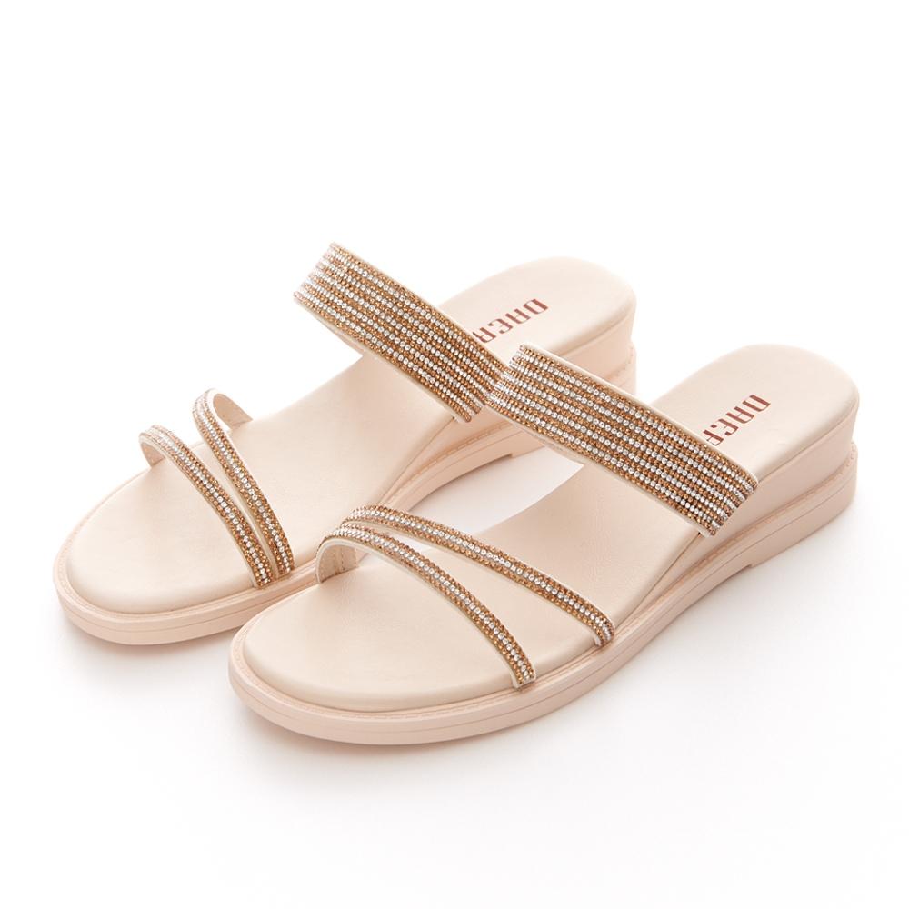 JMS-繽紛耀眼一字斜帶鑽飾楔型涼拖鞋-杏色