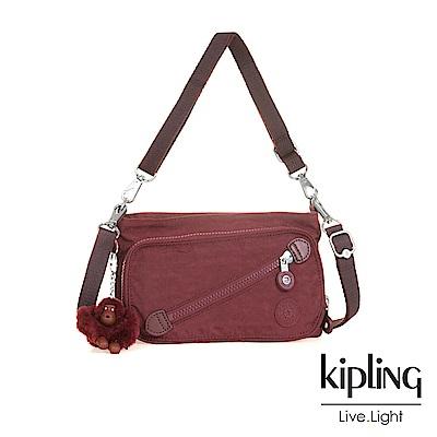 Kipling高雅酒紅斜拉鍊肩背包