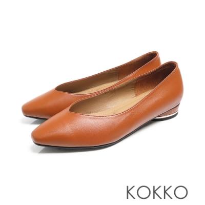 KOKKO -素面小方頭羊皮V口圓跟鞋 - 磚橘色