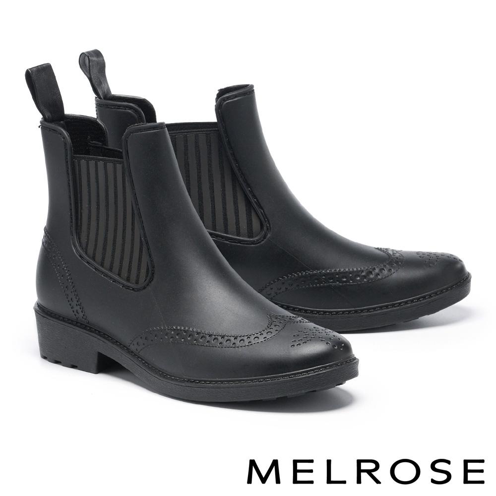 雨靴 MELROSE 簡約時尚雕花低跟雨靴-黑