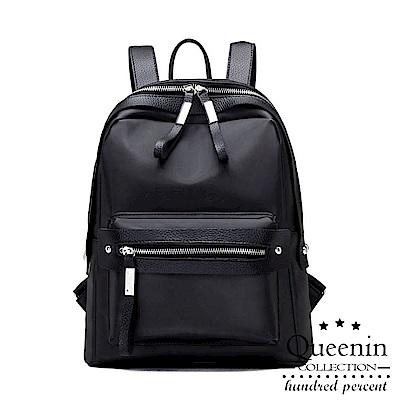 DF Queenin日韓 - 日系輕時尚熱銷款尼龍後背包-共2色