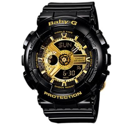 BABY-G 多層次機械酷感女孩休閒腕錶(BA-110-1A)-搖滾黑金/43.4mm
