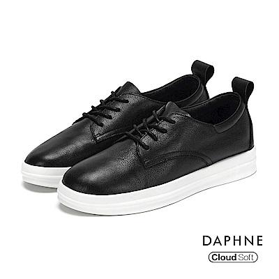 達芙妮DAPHNE 休閒鞋-綁帶拼接厚底真皮休閒鞋-黑