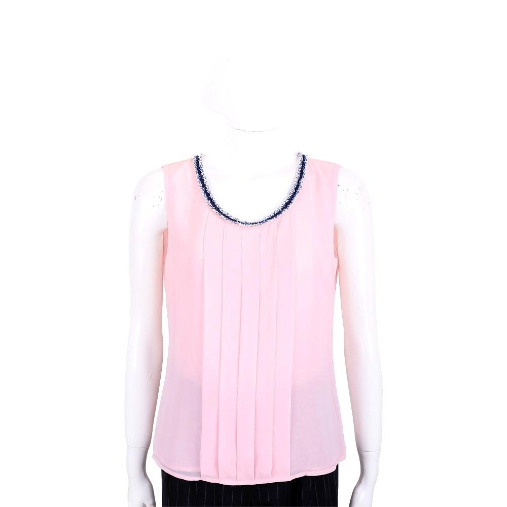 EDWARD ACHOUR PARIS 打摺設計粉色雪紡背心上衣