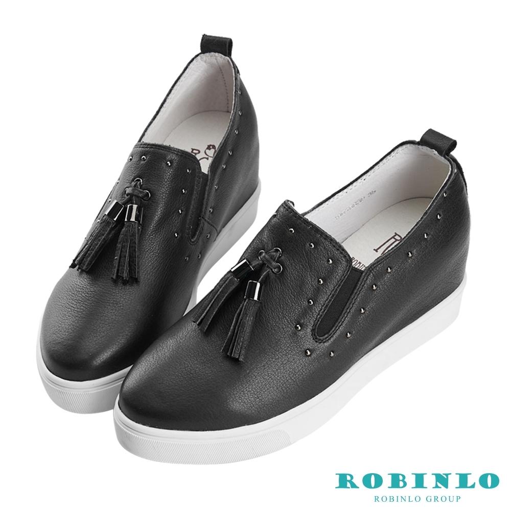 Robinlo 知性典雅鑲珠牛皮內增高休閒鞋 黑色