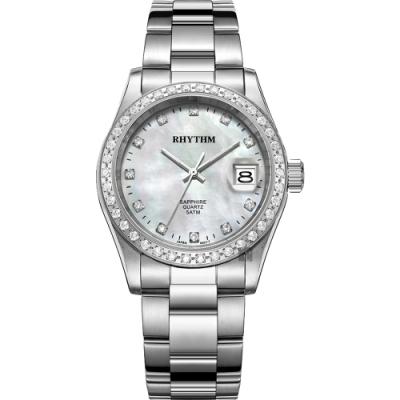 RHYTHM日本麗聲 晶鑽石英手錶-珍珠貝x銀/38mm RQ1619S01