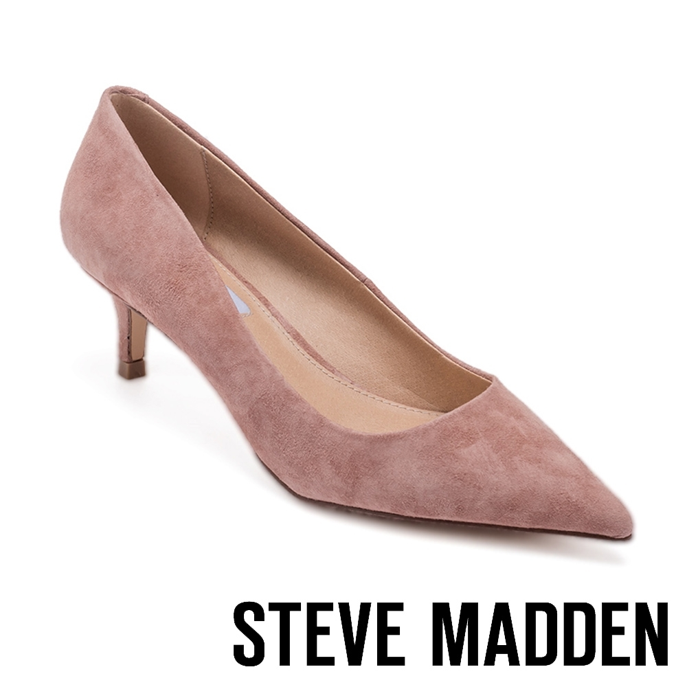 STEVE MADDEN-SABRINAH 素面尖頭中跟鞋-絨粉色