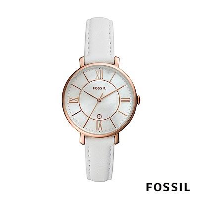 FOSSIL JACQUELINE 白色珍珠母貝錶面賈姬風尚皮革女錶