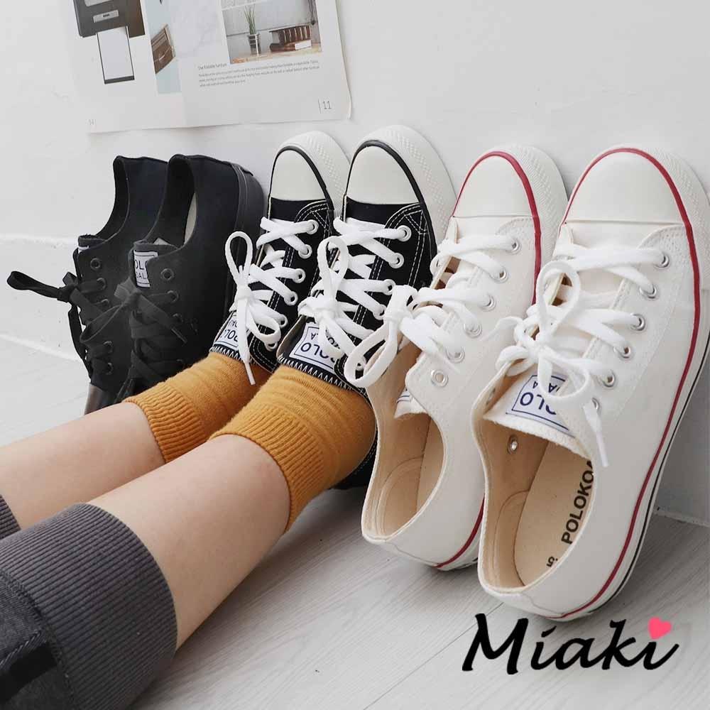 Miaki-帆布鞋.學院風潮百搭休閒鞋 (全黑色系)