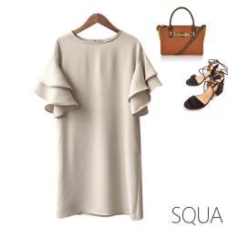 SQUA 雙層荷葉袖洋裝-二色