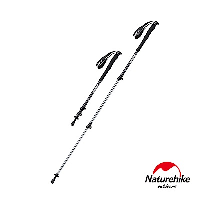 Naturehike 長手把6061鋁合金三節外鎖登山杖 附杖尖保護套 黑色