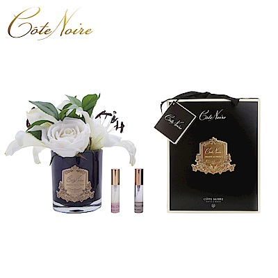 法國 CoteNoire 蔻特蘭 象牙白百合玫瑰香氛花黑瓶