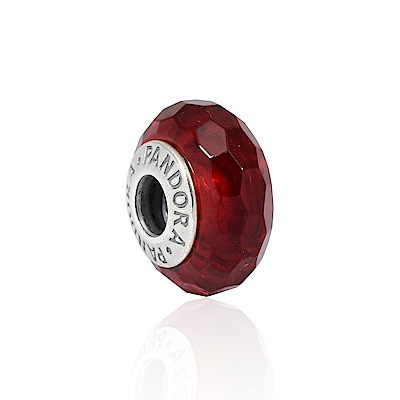 Pandora 潘朵拉 閃耀晶透多角紅色琉璃珠 純銀墜飾 串珠