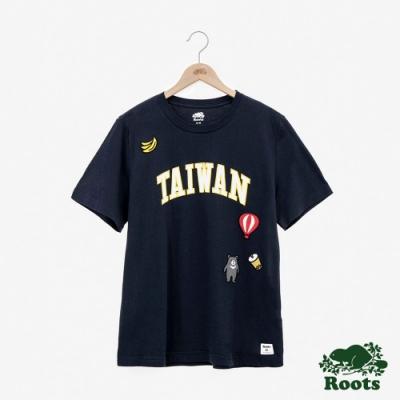 男裝Roots台灣國慶貼布短袖T恤-藍