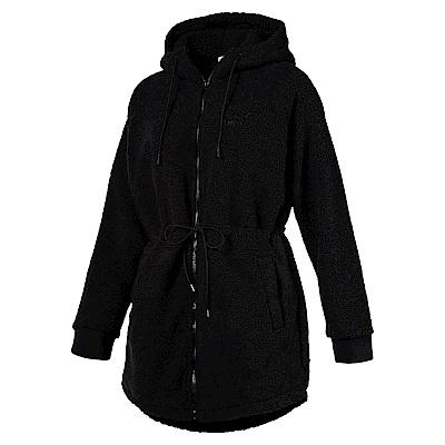 PUMA-女性流行系列Downtown毛絨連帽外套-黑色-亞規