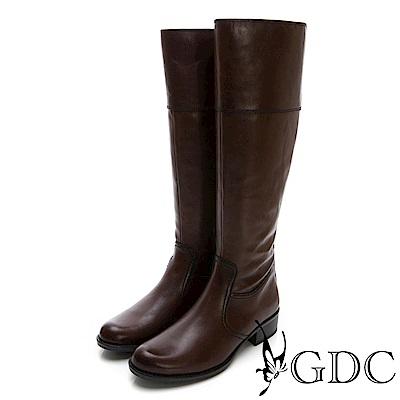 GDC-真皮基本百搭實穿時尚歐風長筒靴-咖色