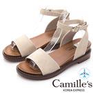 Camille's 韓國空運-簡約一字繞帶平底涼鞋-杏色