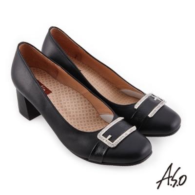A.S.O 職場通勤 彈麗舒活精緻簡約鑽釦中跟鞋-黑