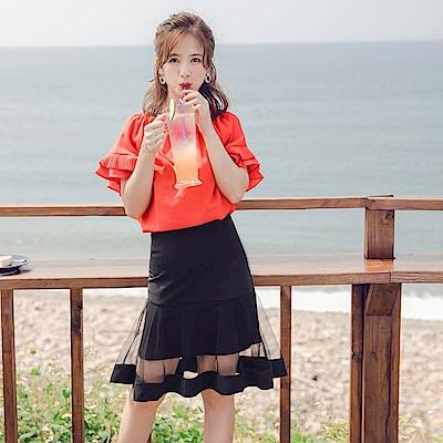 iMODA STAR-臧芮軒。純色透視網紗拼接修身魚尾短裙