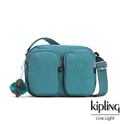 Kipling 靜謐藍綠雙拉鍊前口袋側背包-PATTI