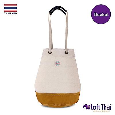 Loft THAI | 泰.兩用帆布水桶包(大) | Nature/mustard