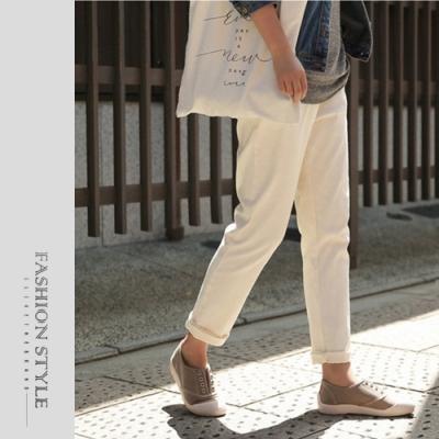 2F韓衣-簡約素色百搭休閒長褲-2色(S-XL)