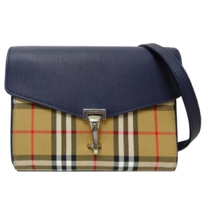 BURBERRY VINTAGE 格紋皮革斜背包(藍色/小款)