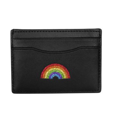 COACH黑色全皮亮粉彩虹貼飾雙面名片/票卡夾