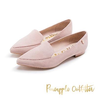 Pineapple Outfitter 知性美型 羊皮樂福尖頭低跟鞋-粉色