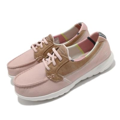 Skechers 休閒鞋 Go Walk Lite 寬楦 女鞋 健走 郊遊 回彈 避震 瑜珈鞋墊 粉 棕 136070WLTPK