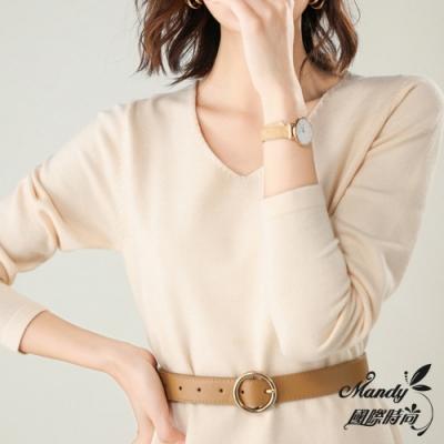 Mandy國際時尚 長袖上衣 長款V領純色長袖針織上衣(6色) 【韓國服飾】